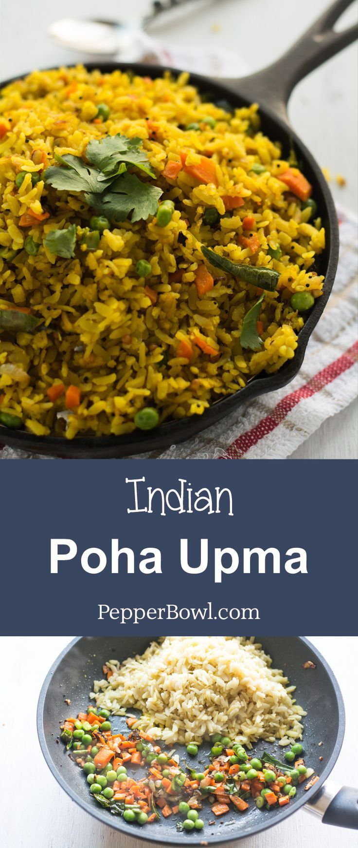 Poha Upma Recipe / Aval Upma yields soft and fluffy poha perfect for breakfast. Explained well with step by step pictures. | http://pepperbowl.com via /pepperbowl/