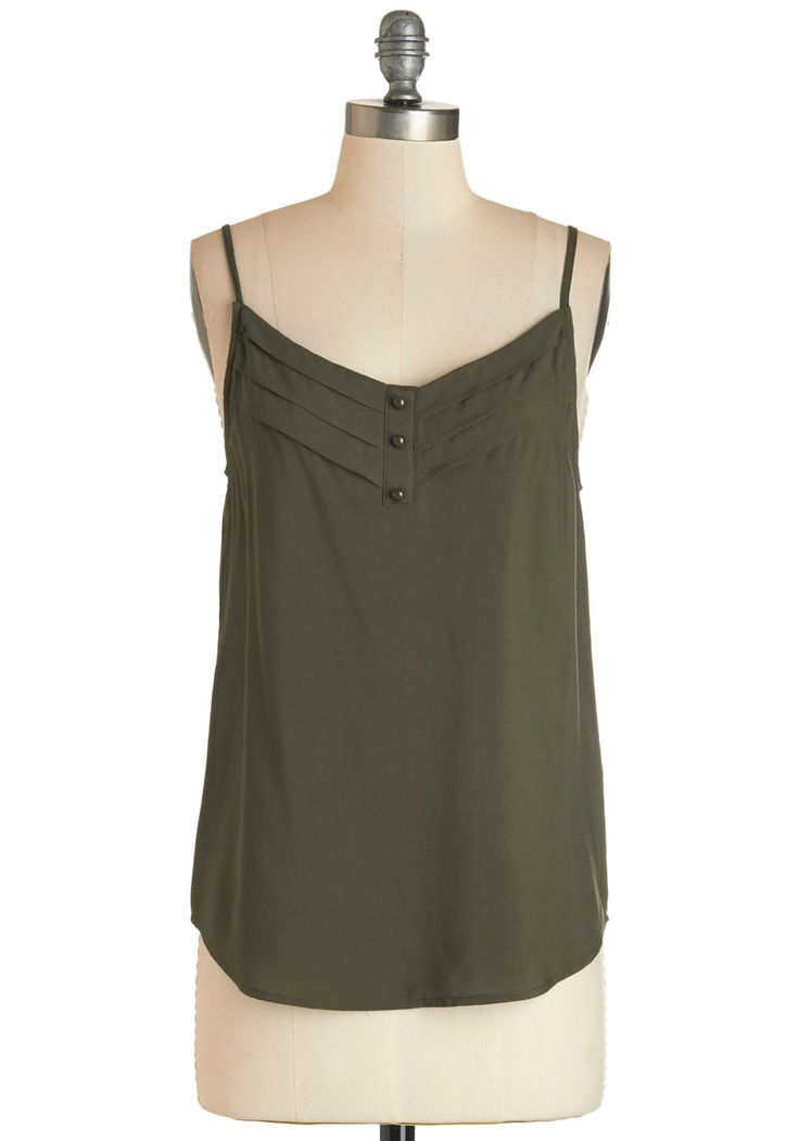 Olive and Let Live Top. Its easy to let the good times roll, breezing through life in this olive-green tank top! #green #modcloth