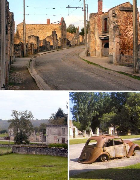 abandoned The small village of Oradour-sur-Glane, France, is the setting of unspeakable horror. During World War II, 642 residents were massacred by German soldiers as punishment for the French Resistance.