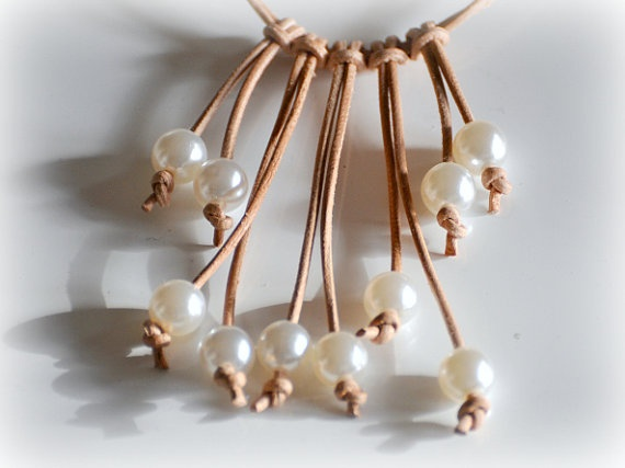 Leather and Faux Pearl Necklace