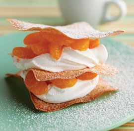 Mandarin Napoleons with Sugared Wonton Wrappers...totally making these ...