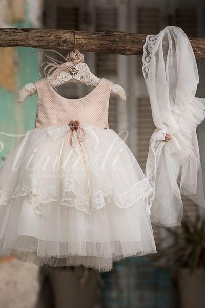 Σοκολά εκρού φόρεμα βάπτισης μεσάτο με λεπτομέρειες δαντέλας και ασορτί  πλαϊνή μαντήλα 42764e66bb0