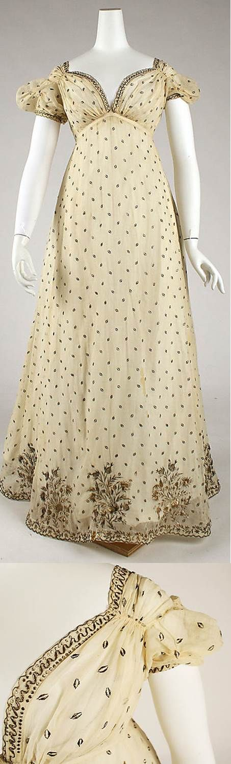 French muslin dress embroidered with metallic thread. Detail of embroidery. c1810 Met Museum
