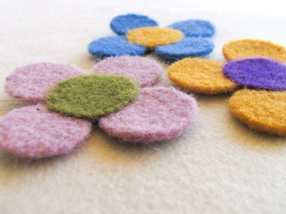 Felt Flower Coaster Felt Table Decor Set of 3 by totalhandmadeD, $30.00