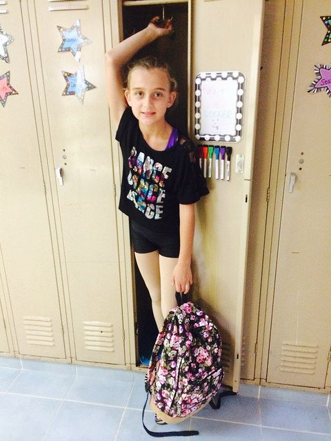5th grade and she still fits in the lockers.