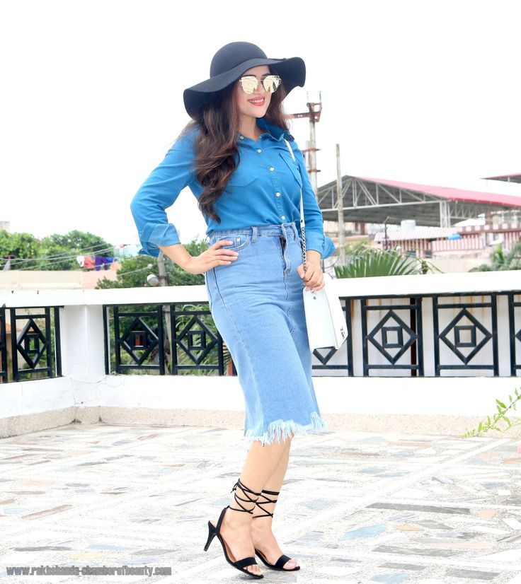 Blue Shirt   Denim Skirt Fall Fashion Trends