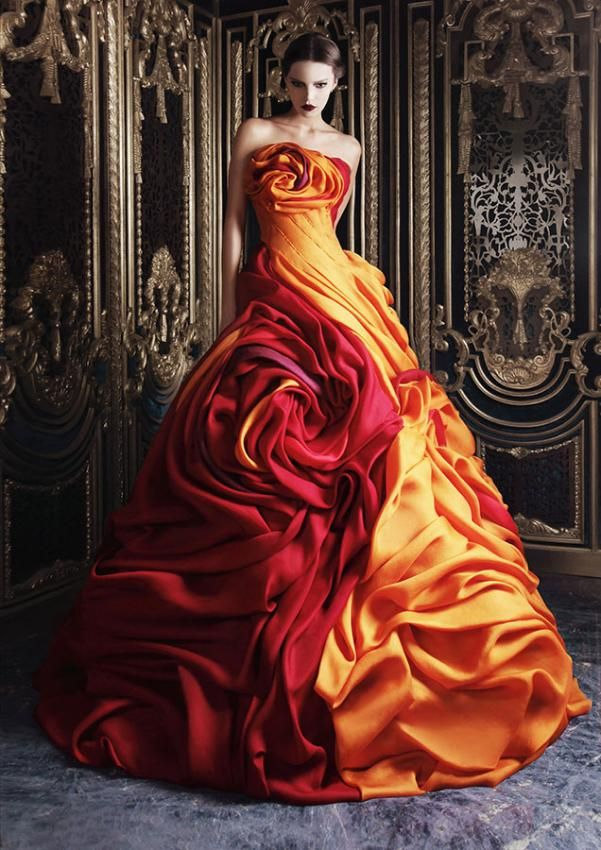 Incredible Red & Gold Dress - Stunning!