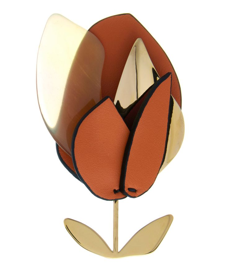 Marni Orange Leather Flower Brooch | Accessories | Liberty.co.uk