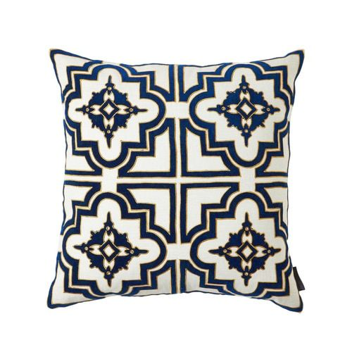 Thurston Reed Belgrove Blue Velvet Appliqué On Linen With Embroidery Decorative Pillow Damask Throw Pillows Velvet Accent Pillow Throw Pillows