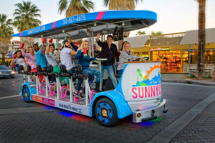 This cycle is so exciting everyone takes pictures as you're going down Palm Canyon in Palm Springs great for bachelorette parties weddings corporate events and more.  Eco-Friendly - Electric Limousine Cycle *2 or 3 hour tours *Minimum of 10 people, Maximum of 15