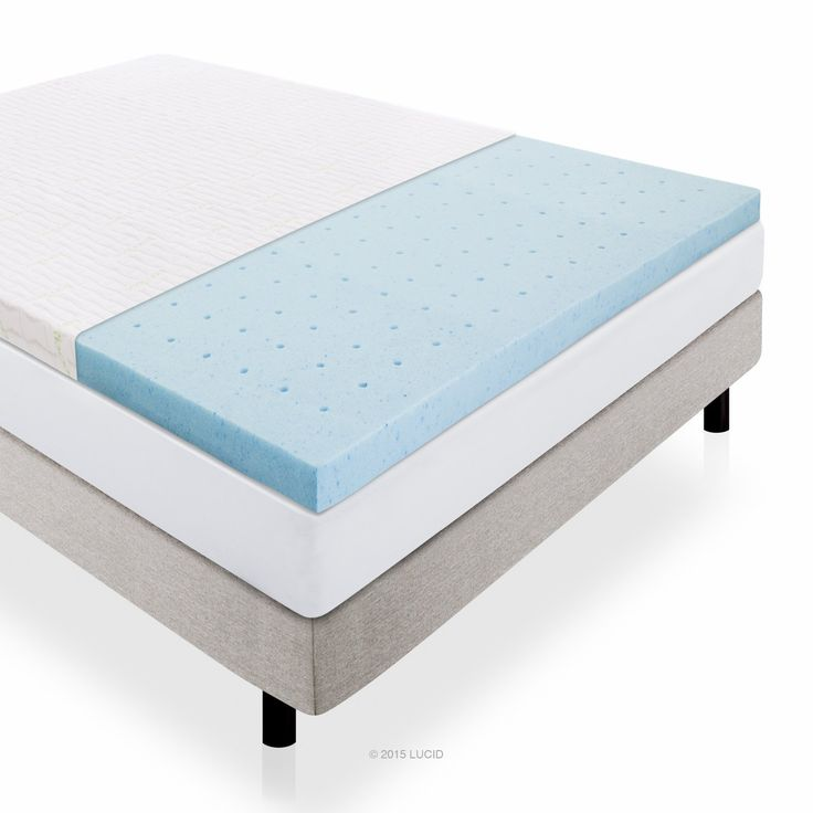 2.5-inch Lucid® by LinenSpa Gel Infused Ventilated Memory Foam Mattress Topper with Removable Bamboo Cover 3-Year Warranty
