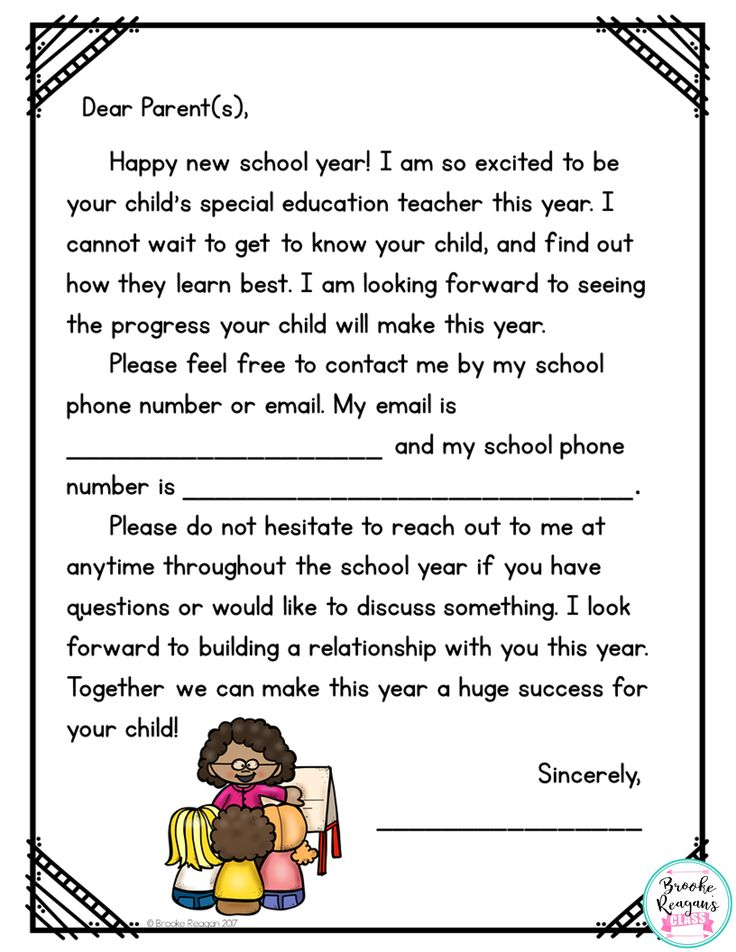 Parent note from special education teacher