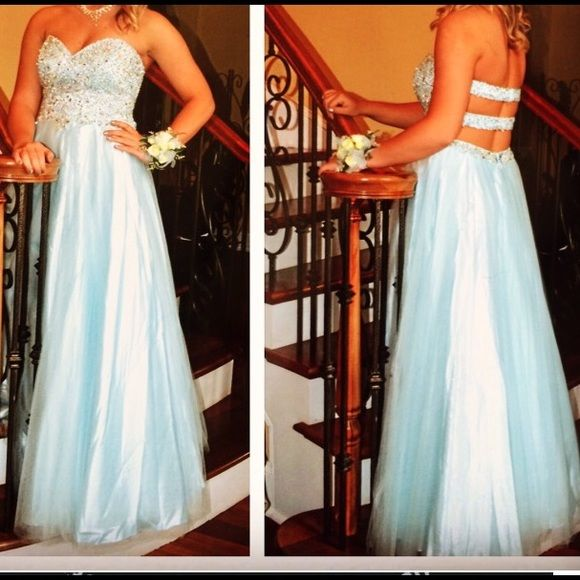 Ice blue puffy prom dress wore once Long, crystal beaded strapless sweetheart ice blue prom dress (it's a L but fits like a M due to alterations) David's Bridal Dresses Strapless