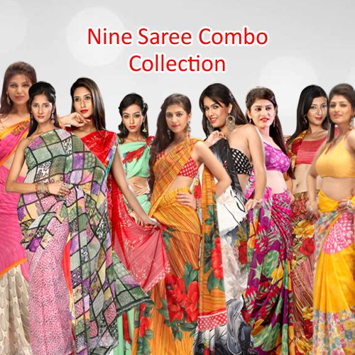 """""""Price : 2999/- Queensaree 9 Saree Combo Collection - Buy 9 Stylish Designer Sarees Combo Online From Teleshop, 24*7 Home Shopping Channel In India. COD Available. Contact us : 093-12-100-300"""""""
