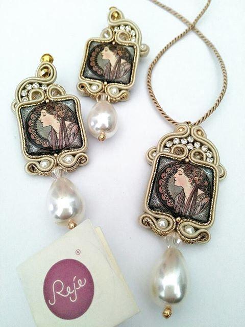 Soutache set Soutache earrings Soutache pendant by Rejesoutache