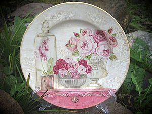 """pratos de porcelana decoupage """"Rosas de Provence"""""""