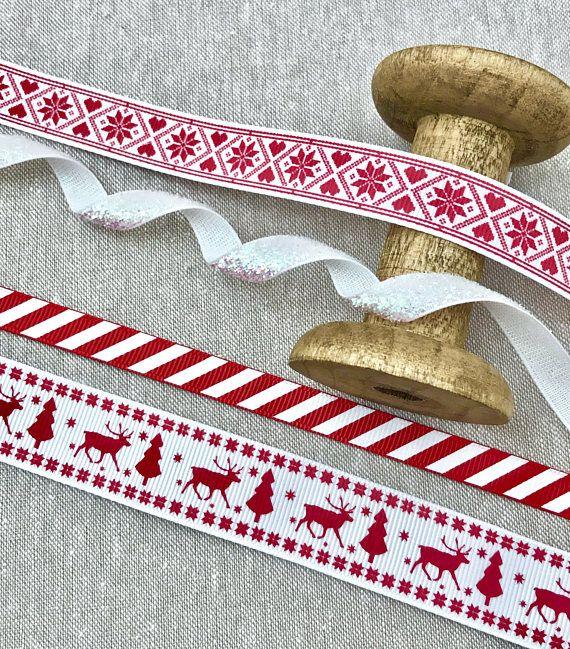 Scandinavian Christmas Ribbon Red And White Scandi Trim Christmas Ribbon Scandinavian Christmas Christmas Gift Wrapping