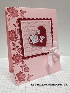 Stampin' Up! ... handmade Valentine card ... pink base with red and a pit of white embossing ...  like the focal point square ... scalloped border mat ... French script background stamping ... die cut red heart with white embosded flower ...