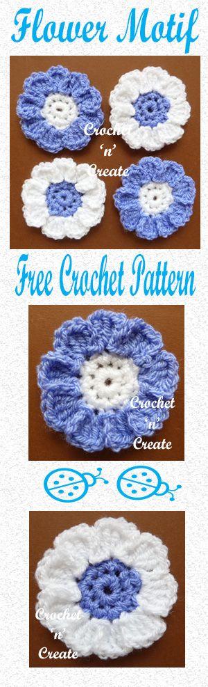 Free crochet pattern for pretty flower motif, use on bags, purses etc. #crochet