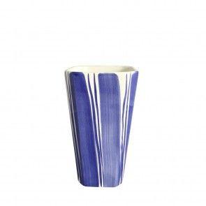 Vaso grande in ceramica a righe blu Este Ceramiche