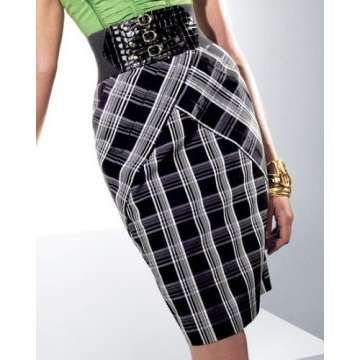 Plaid Pencil Skirt - Photo
