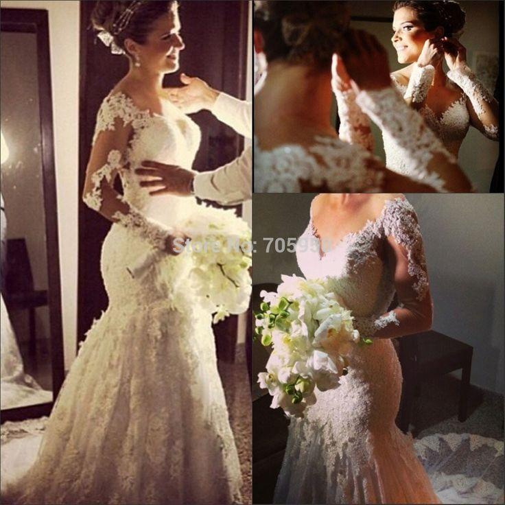 Дешевое Vestido де noiva sereia ренда русалка свадебное платье кружева с длинным рукавом милая свадебное платье свадебные платья романтические свадебные платье, Купить Качество Свадебные платья непосредственно из китайских фирмах-поставщиках:       *******************************************************************    Если вы хотите нестандартный,  Пожалу