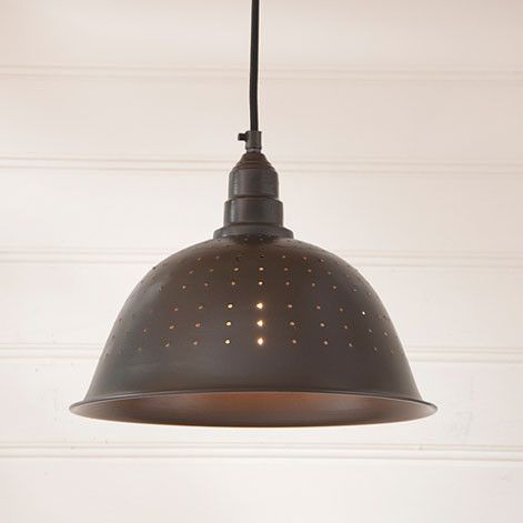 "Colander Black Pendant Your country home will have added style when you add this Colander Pendant Light to your decor. This pendant light measures 9.75"" H x 12"" Dia. You will love how the smoky black"