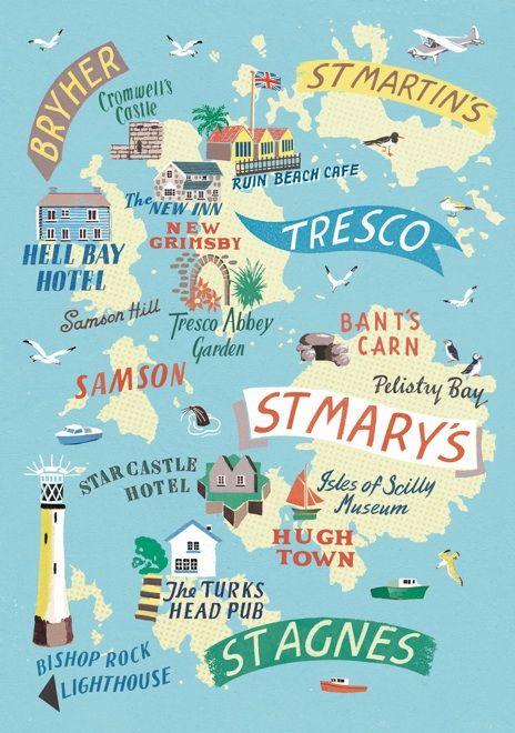 Isles of Scilly map by Anna Simmons for Good Motoring