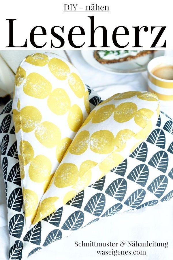 DIY Leseherz Kissen   Nähen   Sewing, Love sewing und ...