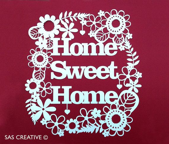 Papercut Template 'Home Sweet Home' Printable PDF Template Cut Your Own Papercut by Samantha's Papercuts