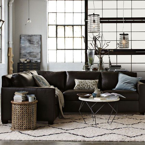 West Elm Living Room. Gray Sectional Sofa.