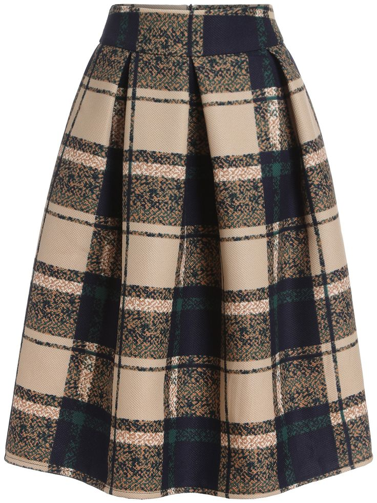 "Khaki Vintage Plaid Midi Skirt ""  ,35% Off for 1st Sign Up  """