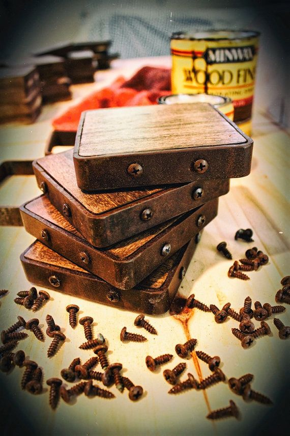 FATHERS DAY SALE Rustic Industrial Coasters by thefiVthhammer