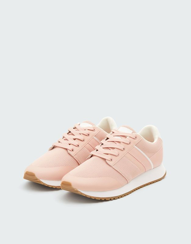Contrasting Pink Sneakers Pull Bear Sneakers Pink Sneakers Womens Sneakers
