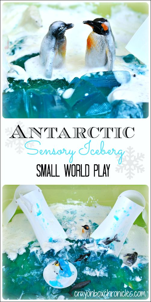 Simple Antarctic Jello  Sensory Play with DIY up cycled slides from plastic containers by Crayon Box Chronicles.