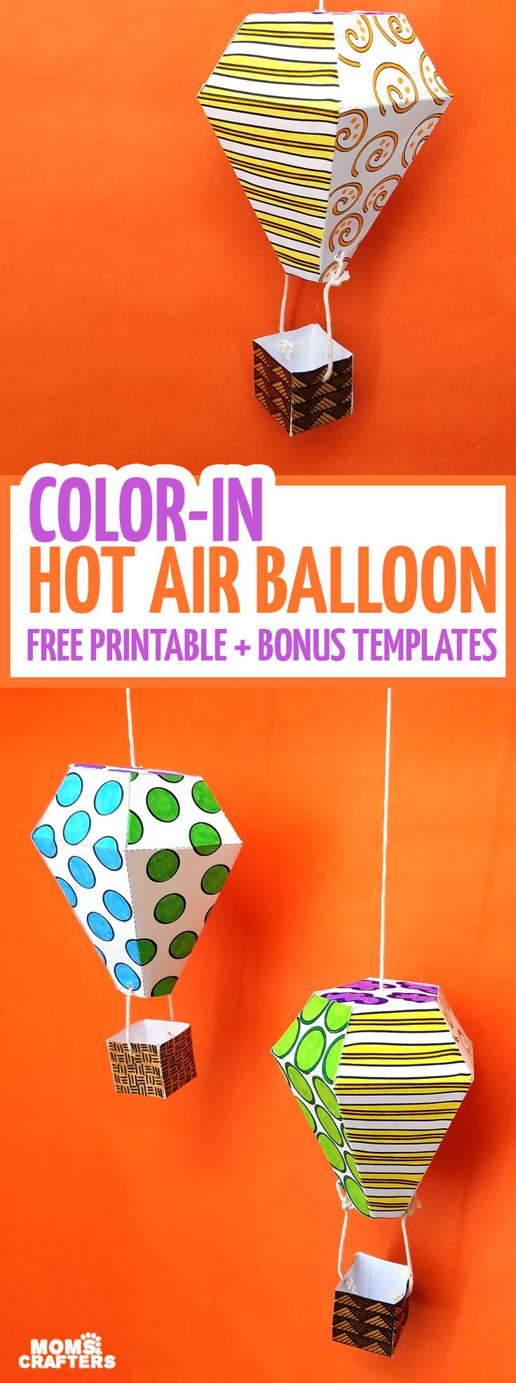 Hot air balloon mobile template and coloring page for Decor 6 template