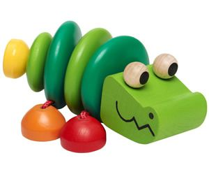 How sweet is this little wooden croc by #Selecta Croco Rattle 1478 - it rattles too! #MadeinGermany #Quality #NonToxic #WoodenToys