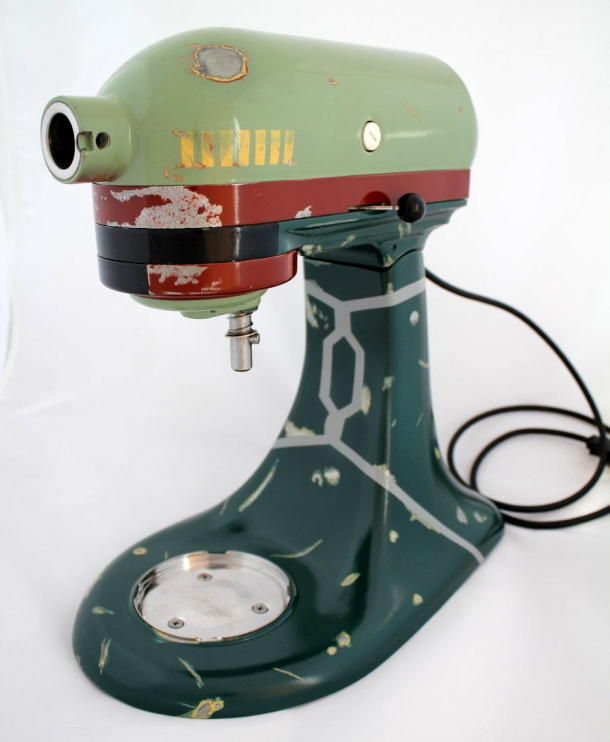 Boba Fett KitchenAid mixer, for a bounty of baked goods | Way cooler than any decals I could make to spruce up my mixer.