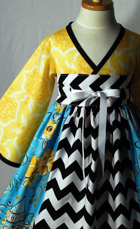 Little Girls Dress Kimono Style with Obi Sash  Black by pinkmouse, $52.00