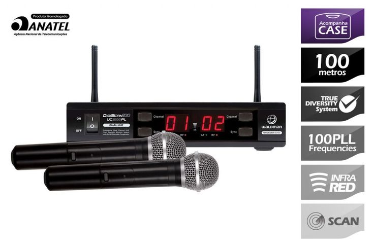 Waldman - Microfone Wireless DigiScan 100 UC2100PL