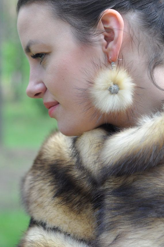 Different colors Earrings for every day with mink by MamaMadelt, €9.00