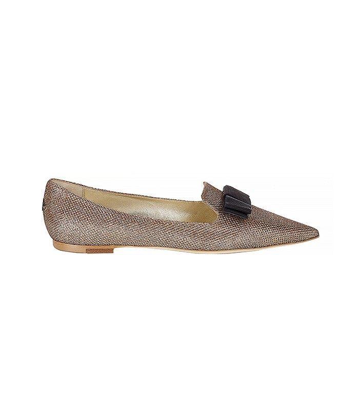 Jimmy Choo Macaroon Lamé Glitter Pointy Toe Flats with Bow
