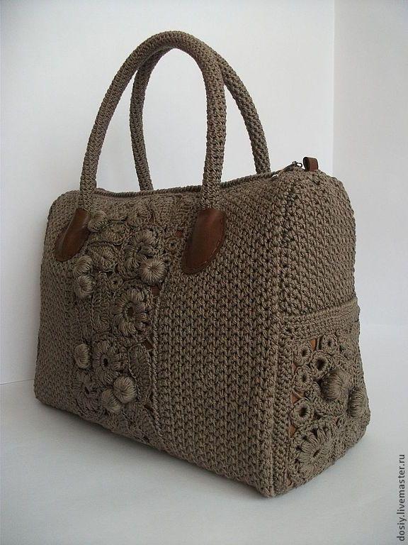 Купить вязаная сумка-саквояж - серый, однотонный, женская сумка, сумка женская, повседневная сумка