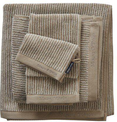 Marc O'Polo Handdoeken Timeless Tone Stripe deep taupe/oatmeal