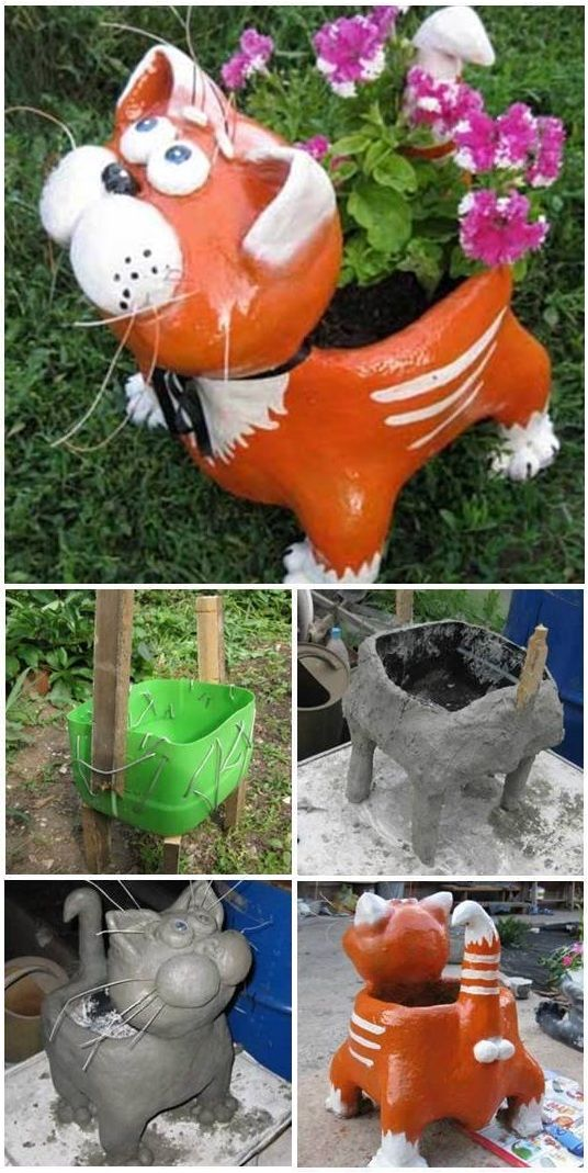 Cute cat planter using plastic containers and cement