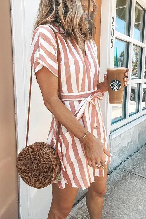 Striped Buttons Design Mini Dress