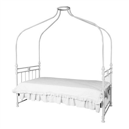 Make your little girl feel like a real princess by tucking her into this gorgeous iron canopy bed from Corsican Iron Furniture. This iron bed is hand forged by skilled craftsmen using classic styling and traditional workmanship