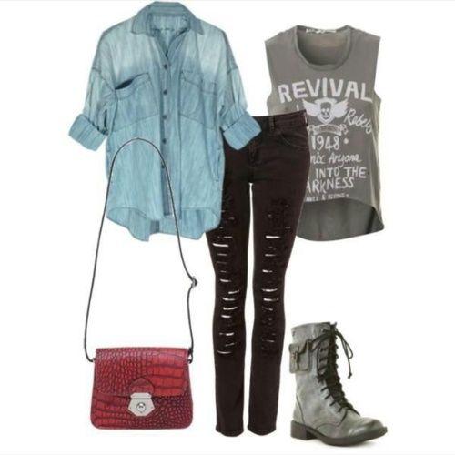 Rock outfit - look, denim shirt, ripped jeans, rock t-shirt