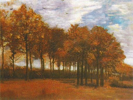 Van Gogh - Autumn Landscape    Oil on canvas on panel  64.8 x 86.4 cm.  Nuenen: October, 1885  F 119, JH 949