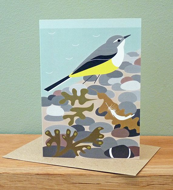 Grey Wagtail on the Beach Greetings Card by butterflytrack on Etsy